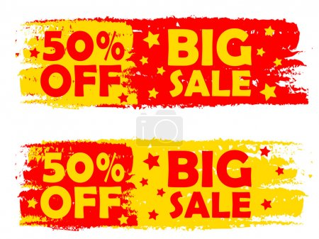 50 percentages big sale, yellow and red drawn labels