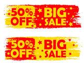 Velký výprodej 50 procenta, žluté a červené nakreslené popisky