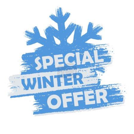 Photo pour Bannière spéciale d'offre d'hiver - texte dans l'étiquette dessinée bleue et blanche avec le symbole de flocon de neige, concept saisonnier d'achat d'affaires - image libre de droit