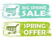 Velký jarní prodej a nabídka s nákupní vozík značky, zelené tažené