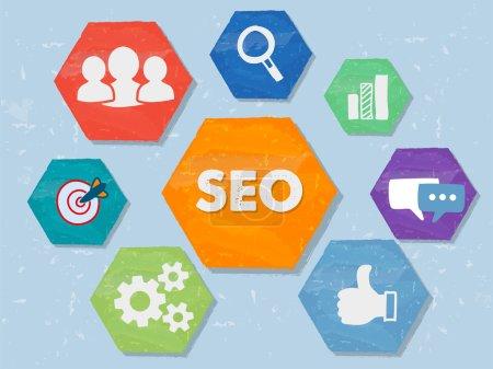 Photo pour Référencement et signes Internet - symboles blancs dans les hexagones de conception plate grunge coloré, icônes concept de technologie d'entreprise - image libre de droit