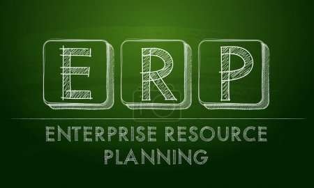 Photo for Erp, enterprise resource planning systems - chalk text over black board, business concept - Royalty Free Image