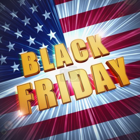 black friday in golden letters over USA flag