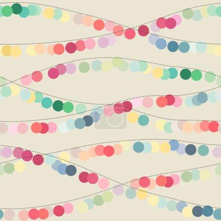 Illustration pour Fond sans couture avec des guirlandes de cercle multicolores. Illustration vectorielle - image libre de droit