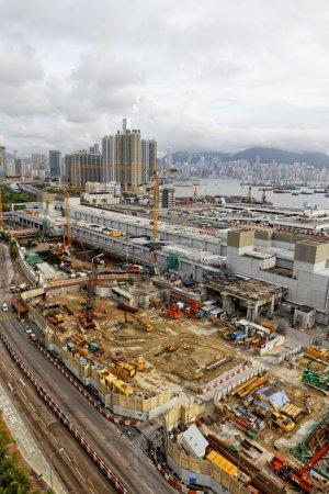 Photo pour Site de construction Prise de vue aérienne le jour, hong kong - image libre de droit
