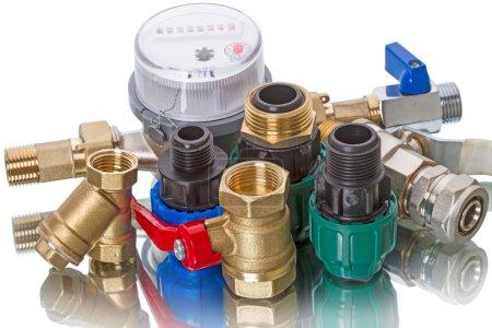 Plumbing fixtures and water meter