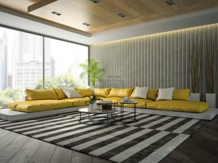 Interior of modern  design room with yellow sofa 3D rendering 2