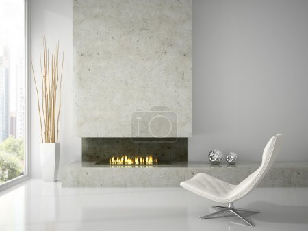 Interior of clean white room with fireplace 3D rendering