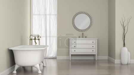 Interior of classic bathroom with round mirror and vases