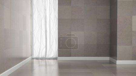 Empty room with granite tile walls