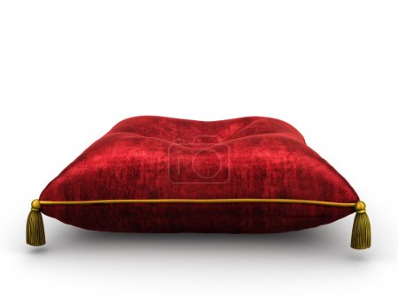 Royal red velvet pillow on white background