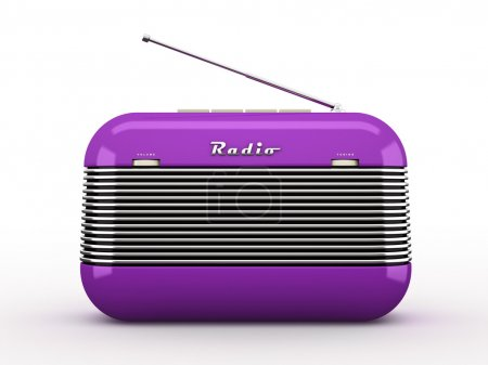 Old purple vintage retro style radio receiver isolated on white