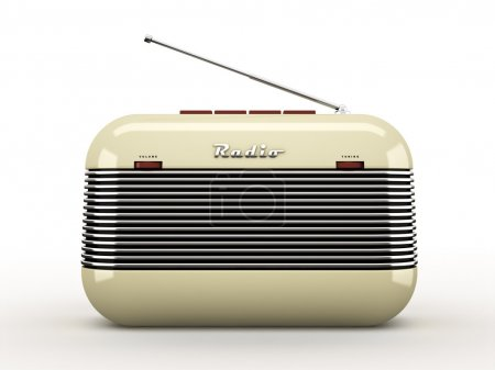 Foto de Old beige vintage retro style radio receiver isolated on white background - Imagen libre de derechos