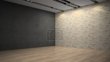 Empty room whith brick wall