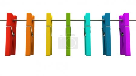 Multicolored clothespins on rope