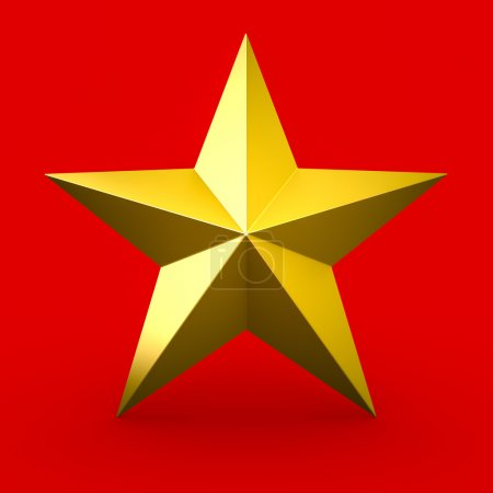 Photo for Gold star isolated on red background - Royalty Free Image