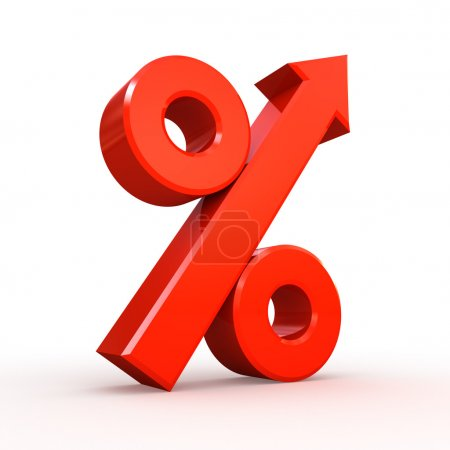 Red percent symbol with arrow on white background