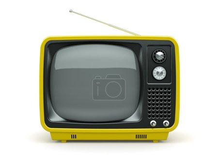 Yellow retro TV on white background