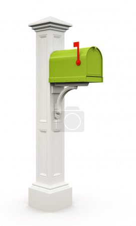 Retro green mailbox isolated on white background