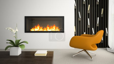 Interior of modern room with fireplace 3D rendering 4