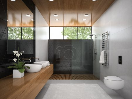Interior of  bathroom with wooden ceiling 3D rendering 6