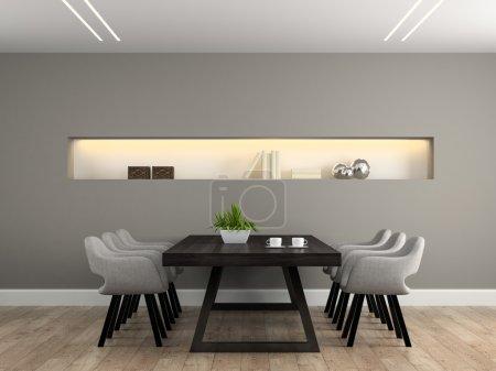 Photo pour Salle à manger intérieure moderne avec table rendu 3D - image libre de droit