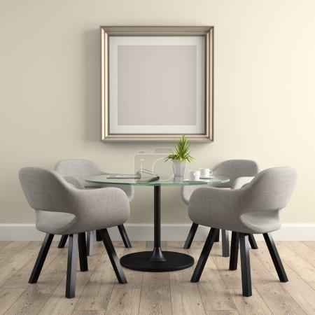 Photo pour Partie de l'intérieur avec table en verre rendu 3D - image libre de droit