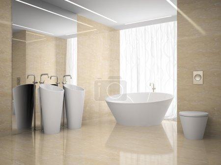 Interior of the modern design  bedroom in marble 3D rendering 2