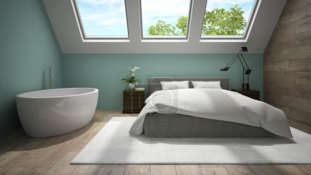 Interior of mansard badroom with blue wall 3D rendering