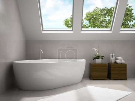 Interior of modern bathroom with wooden cupboards 3D rendering