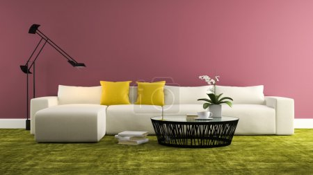Part of interior with  modern whitw sofa and purple wall  3d ren