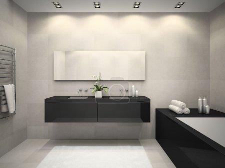 Interior of bathroom with ceiling window 3D rendering 2