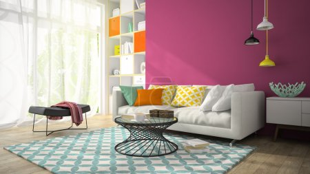 Interior of modern design room with purple wall 3D rendering 3