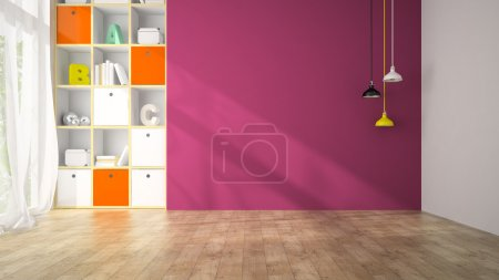 Photo for Empty living room with purple wall 3D rendering - Royalty Free Image