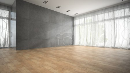 Photo for Empty modern design room with parquet floor 3D rendering - Royalty Free Image
