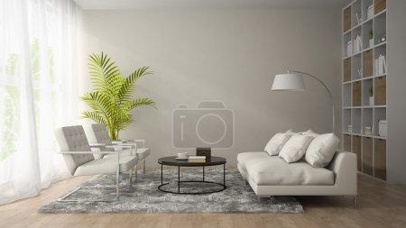 Interior of modern room  with white armchair and sofa 3D renderi