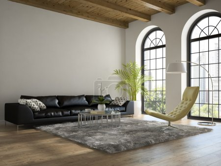Interior of the  loft with black sofa 3D rendering