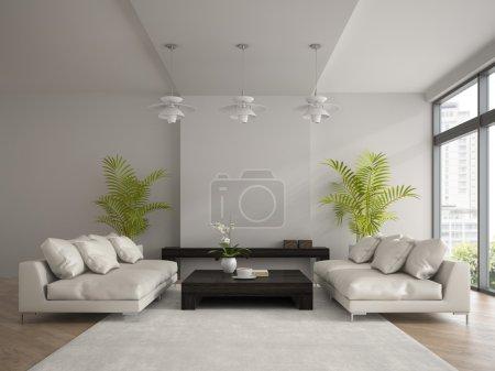 Photo pour Intérieur de la chambre moderne avec deux canapés blancs rendu 3D - image libre de droit