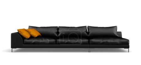 schwarzes modernes Sofa isoliert auf weißem Hintergrund 3D-Rendering