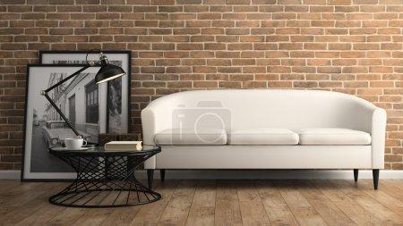 Photo pour Partie intérieure avec mur de briques et canapé blanc rendu 3D - image libre de droit