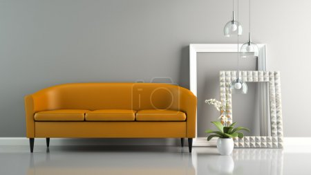 Part of  interior with orange sofa and stylish frames 3D renderi