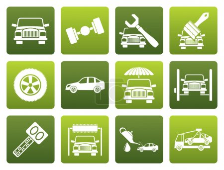 Flat auto service and transportation icons