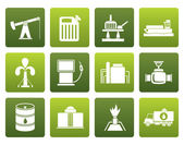 Flat Oil and petrol industry icons - vector icon set