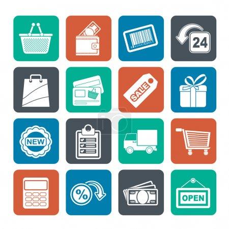 Illustration pour Silhouette shopping et icônes de vente au détail - ensemble d'icônes vectorielles - image libre de droit