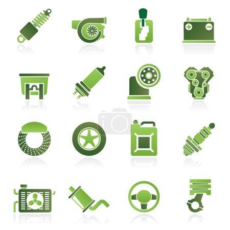 Illustration pour Pièces de voiture et icônes de services - jeu d'icônes vectorielles - image libre de droit