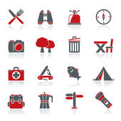 Camping tourism and travel icons