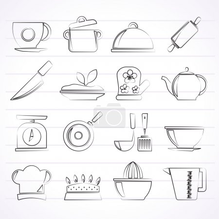 Restaurant and kitchen items icons