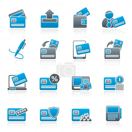 Illustration for Credit card, POS terminal and ATM icons - vector icon set - Royalty Free Image