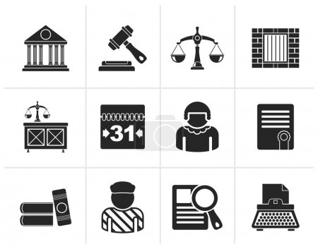 Illustration for Black Justice and Judicial System icons - vector icon set - Royalty Free Image