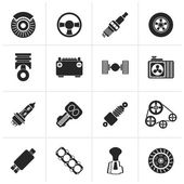 Black Different kind of car parts icons - vector icon set